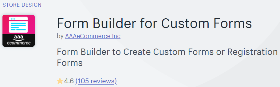 Form Builder for Custom Forms in the Shopify app store