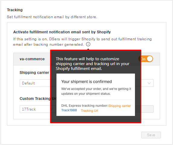 Setting Tracking in DSers app