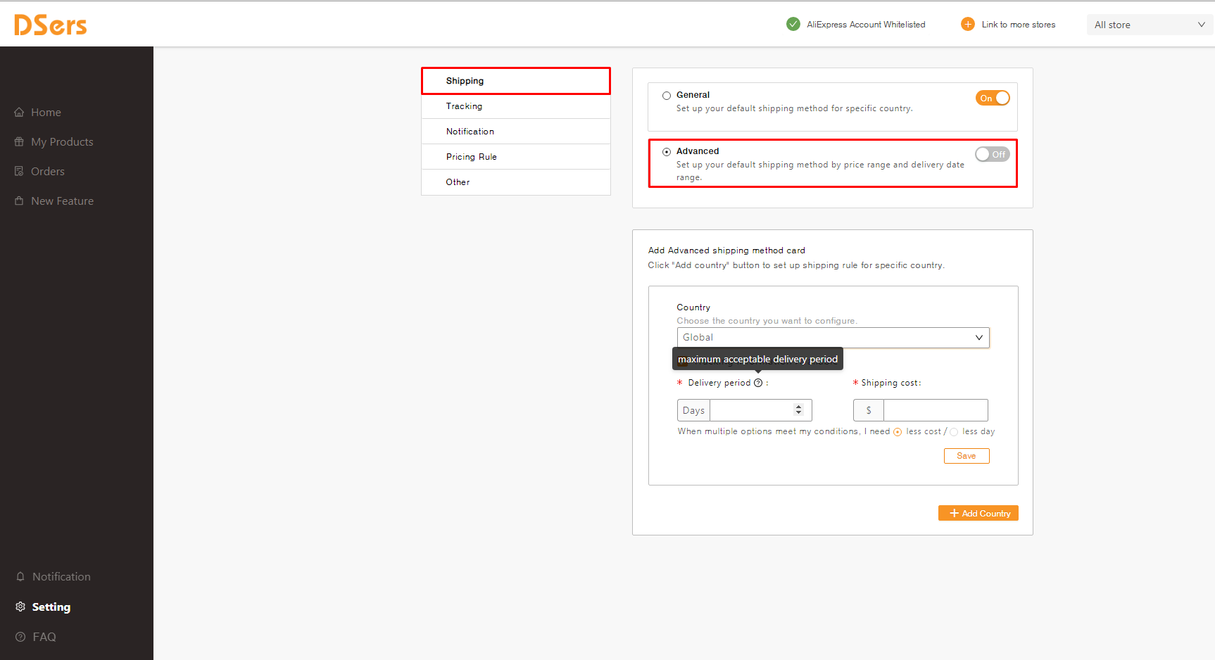 Advanced Setting in Shipping parameter