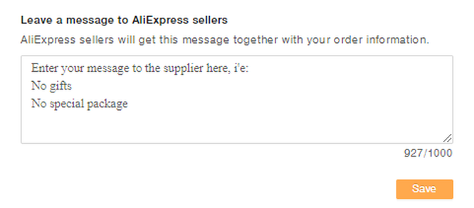 Leave a message to AliExpress sellers
