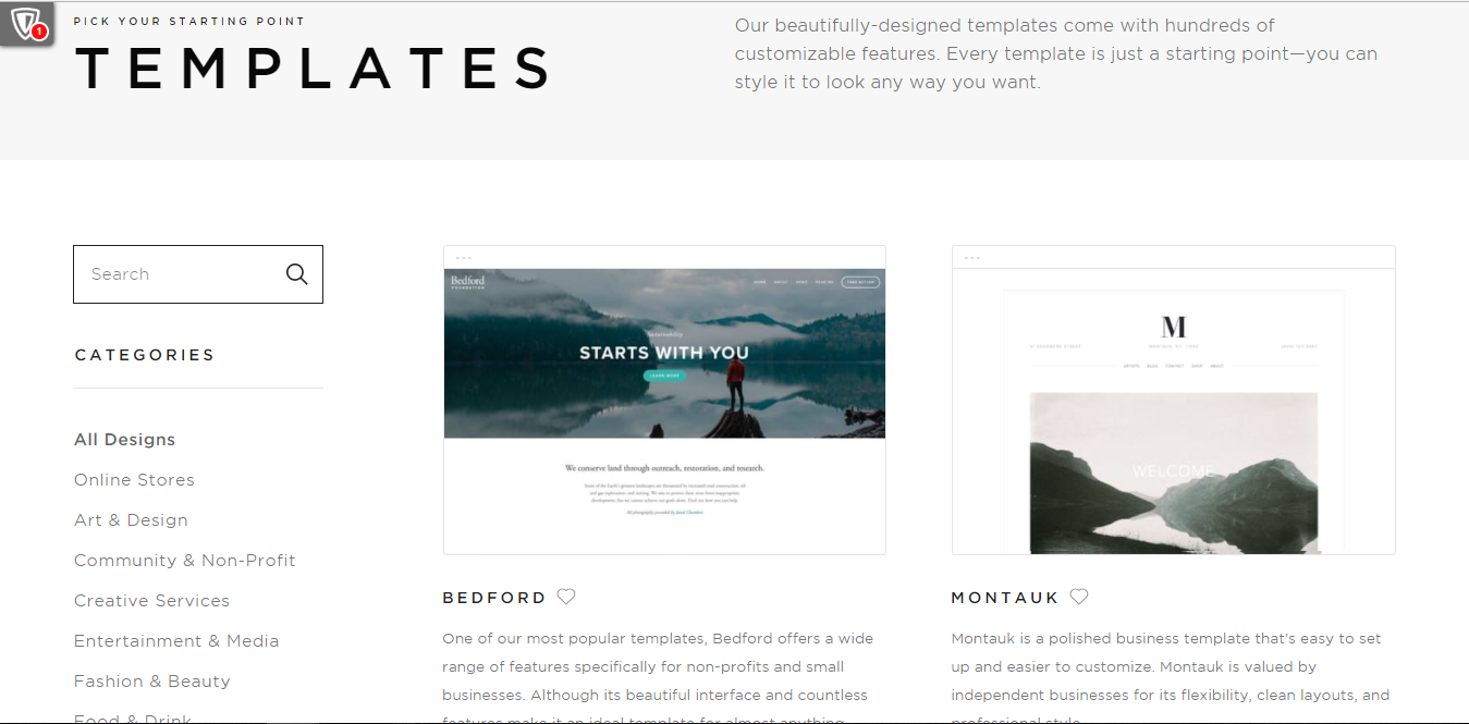setting up a template of Squarespace store