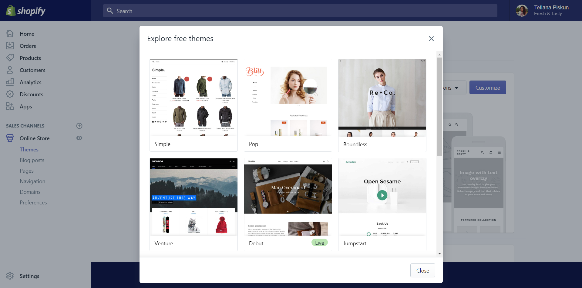 setting up a template of Shopify online store