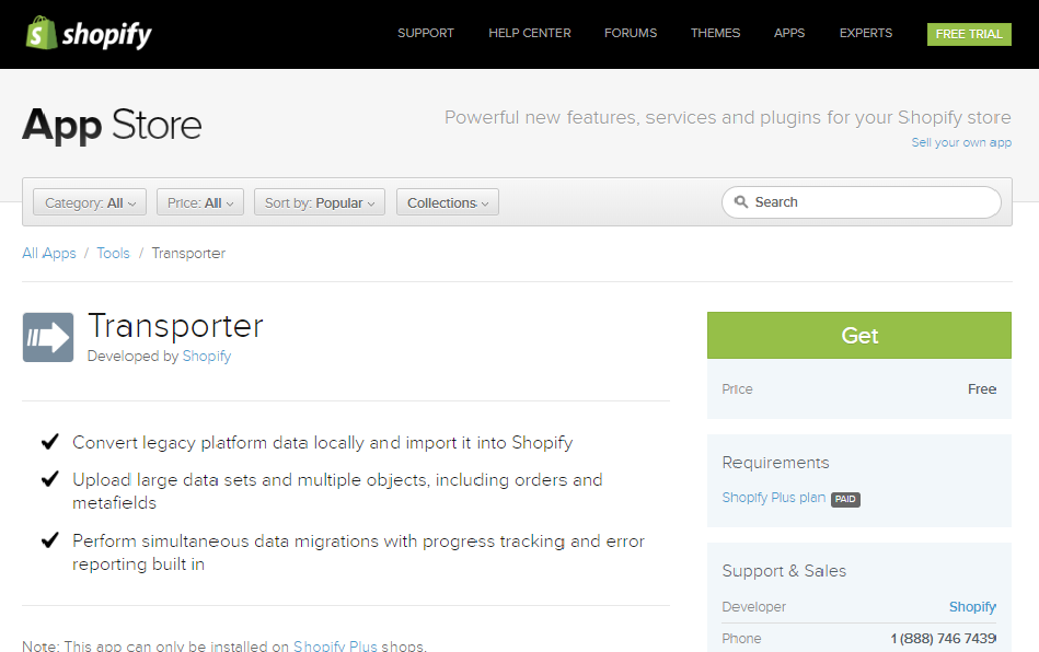 quick and easy data migration to Shopify Plus with help Transporter