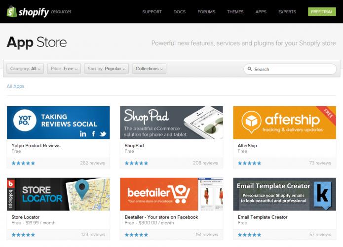 Shopify application store