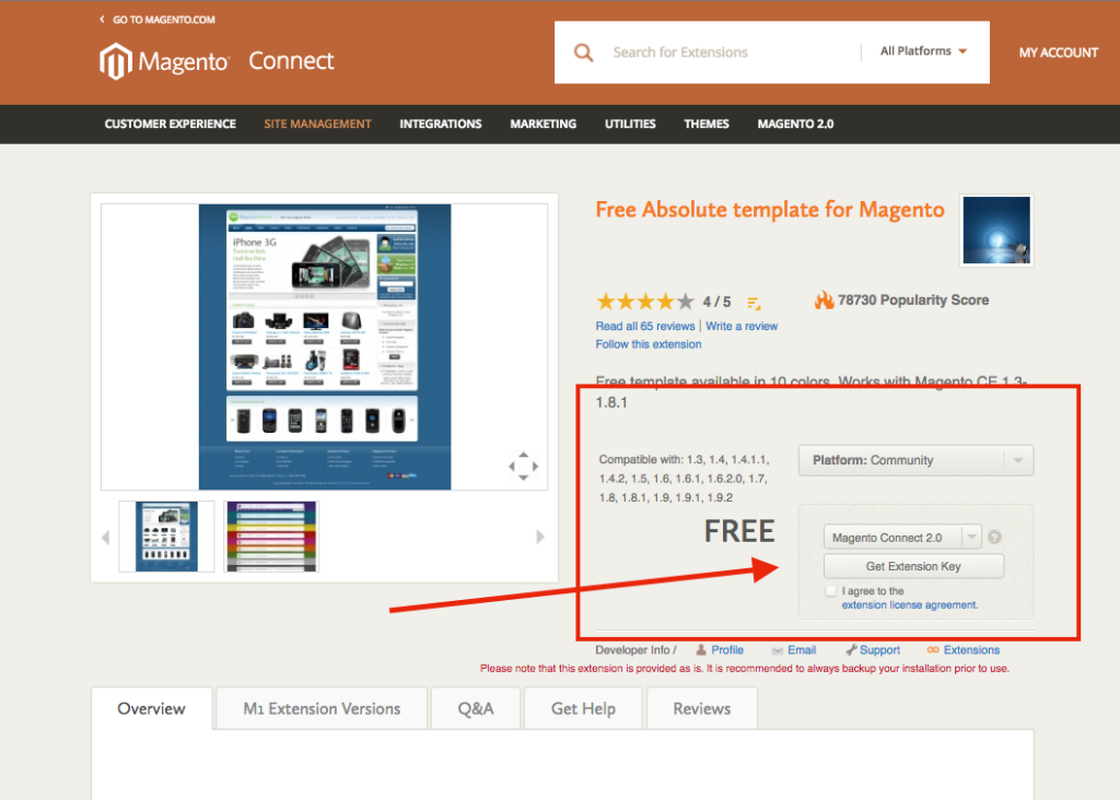 free absolute template for Magento