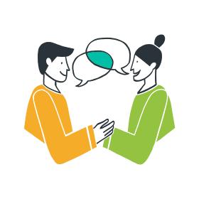 Phase 2 – Illustration zwei sich unterhaltender Menschen