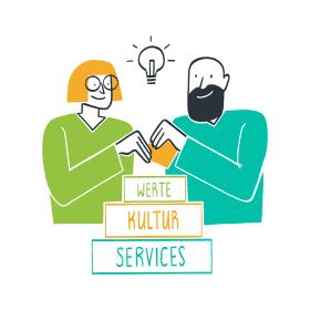 Phase 3 – Illustration zweier Personen mit einer Idee