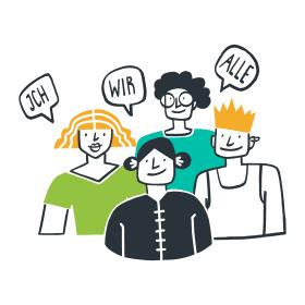 """Phase 5 – Illustration einer Gruppe von Menschen mit den Aussagen: """"Ich, wir, alle""""."""