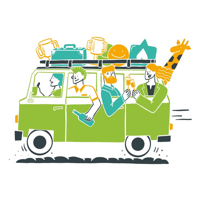 Illustration eines VW-Busses unterwegs mit vielen Personen und Social Media Icons im Gepäck.