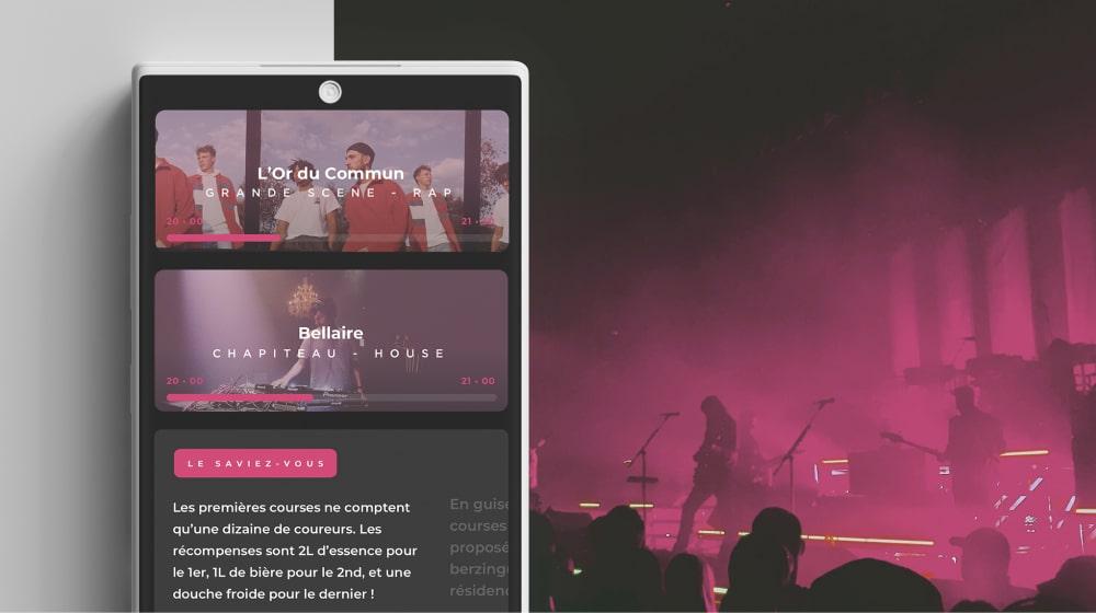 Application mobile du Rock'n Solex Festival 52e édition, 2019, ayant lieu sur le campus de Beaulieu à Rennes.