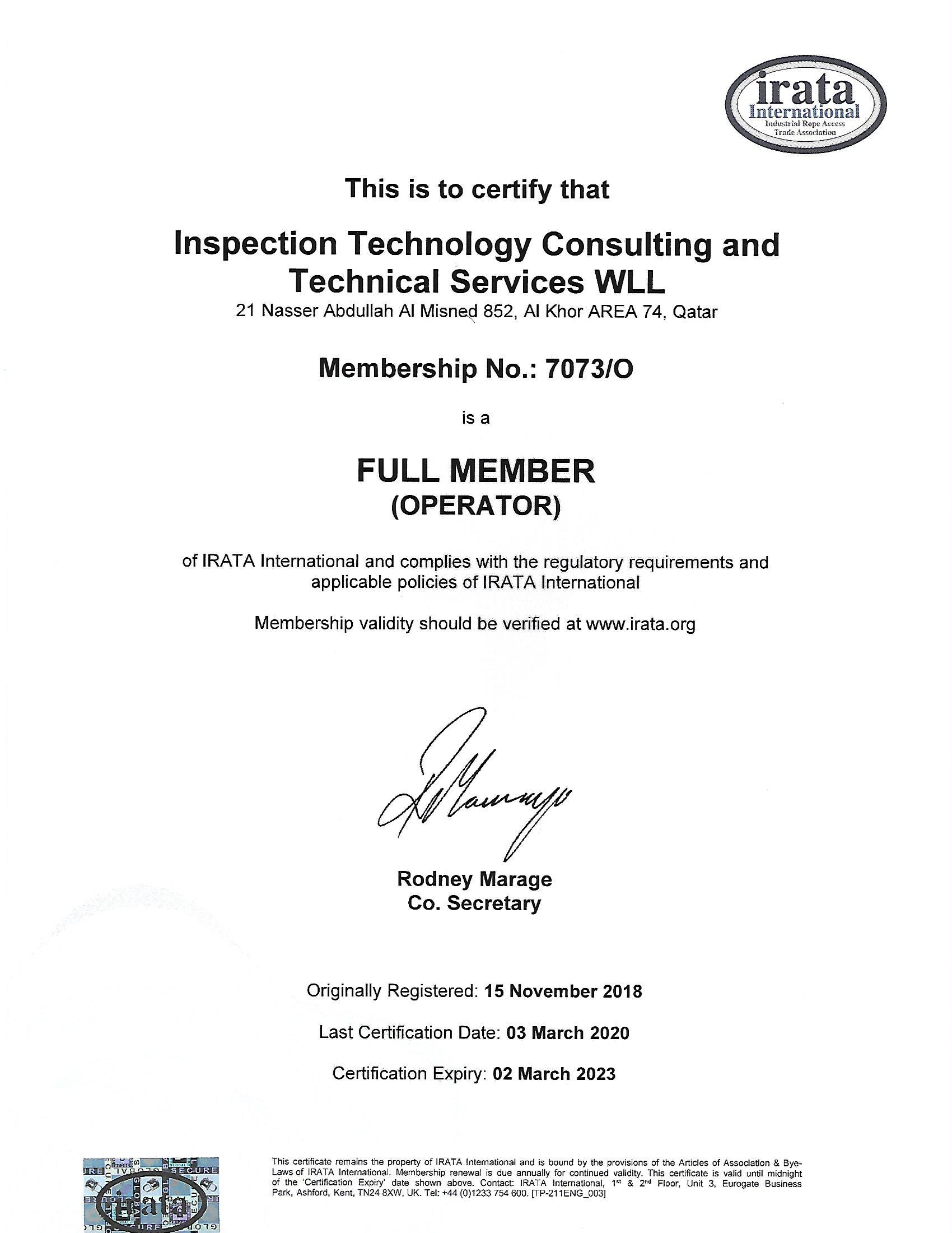 Company IRATA Certificate