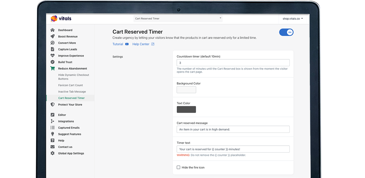 Vitals | Cart Reserved Timer