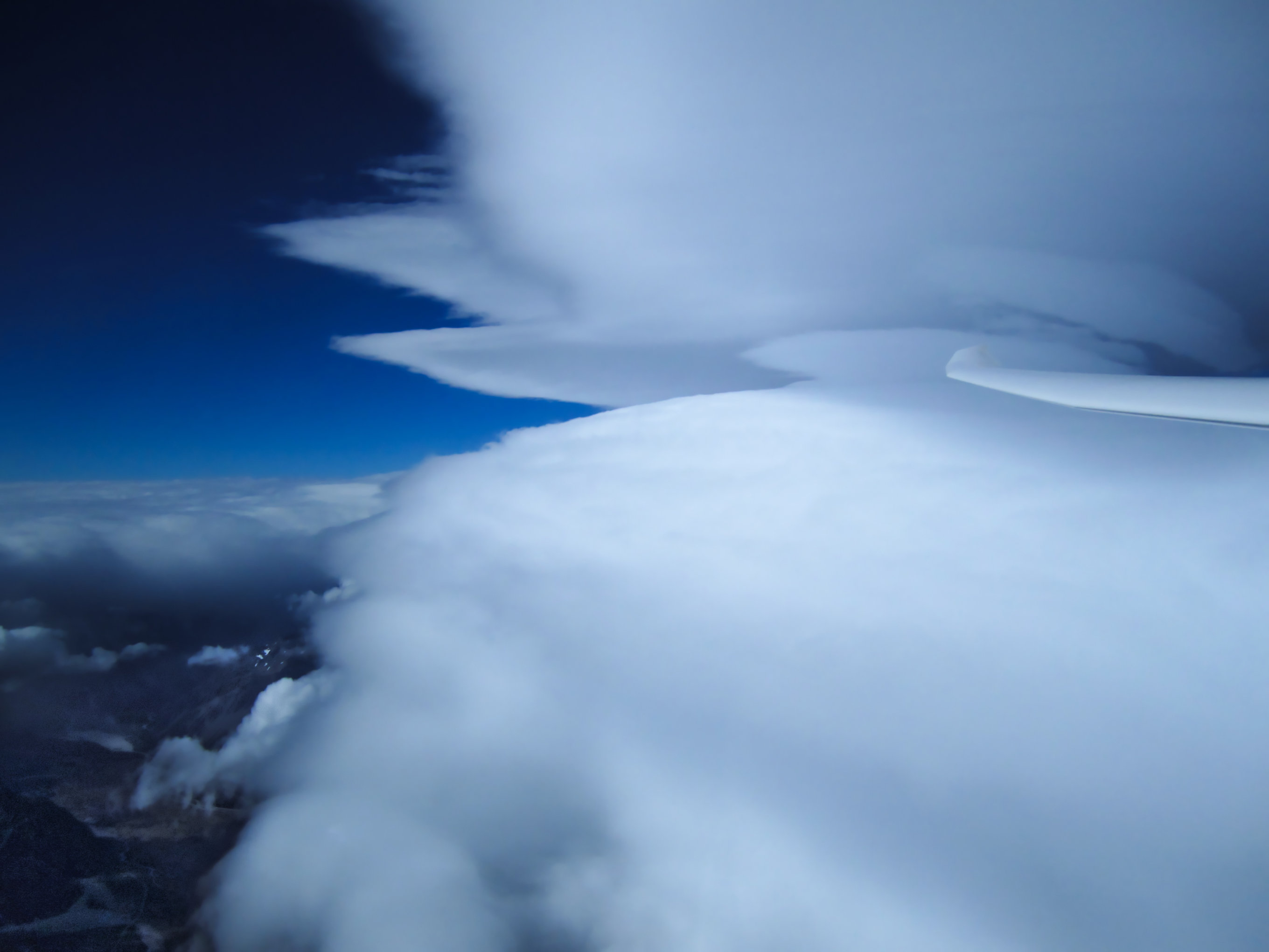 lenticular clouds seen from a glider while flying wave