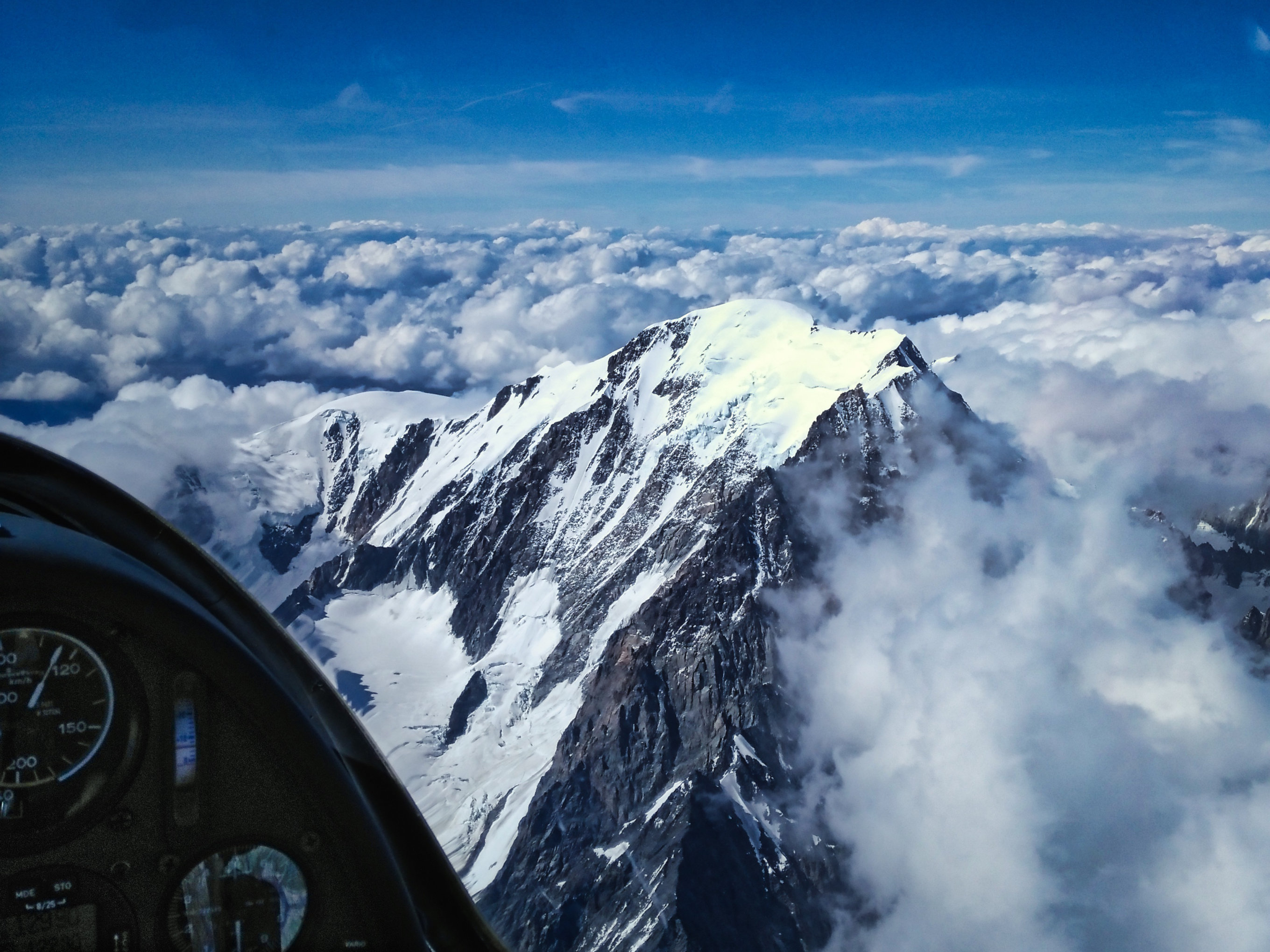 mont blanc seen from above from the glider