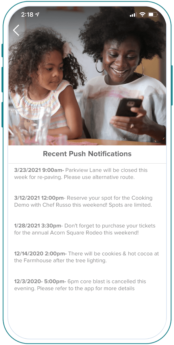 Acorn Square Recent Push Notifications