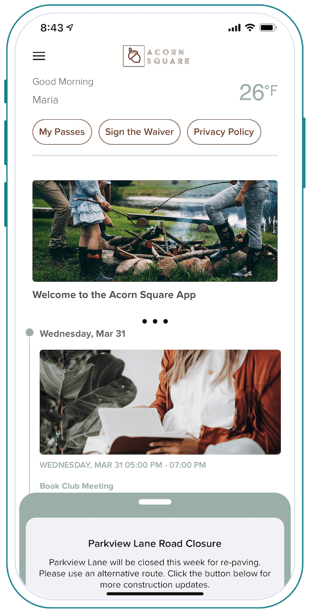 Alosant demo app, Acorn Square, Home Feed