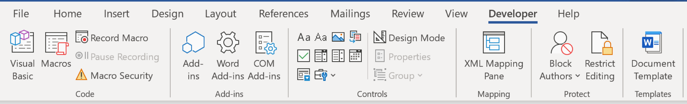 Onglet Microsoft Word Développeur actif