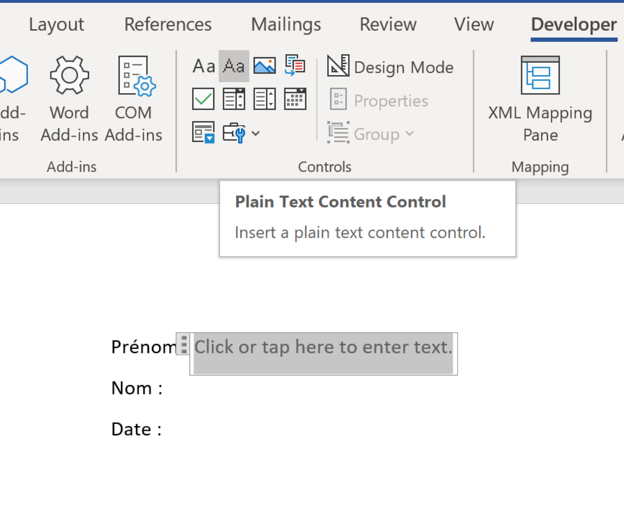 Application du contrôle du texte brut