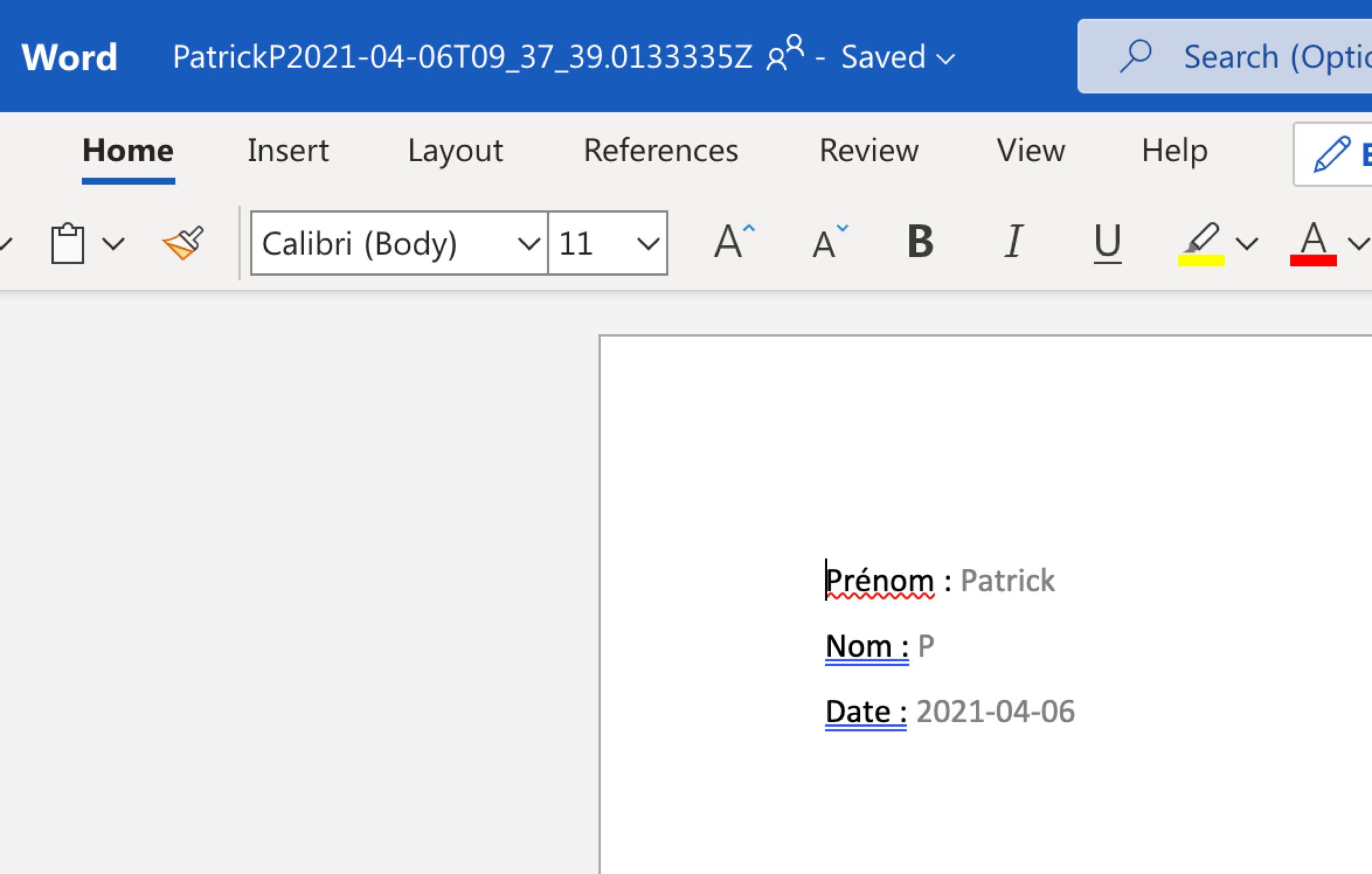 Modèle de document Word automatiquement rempli
