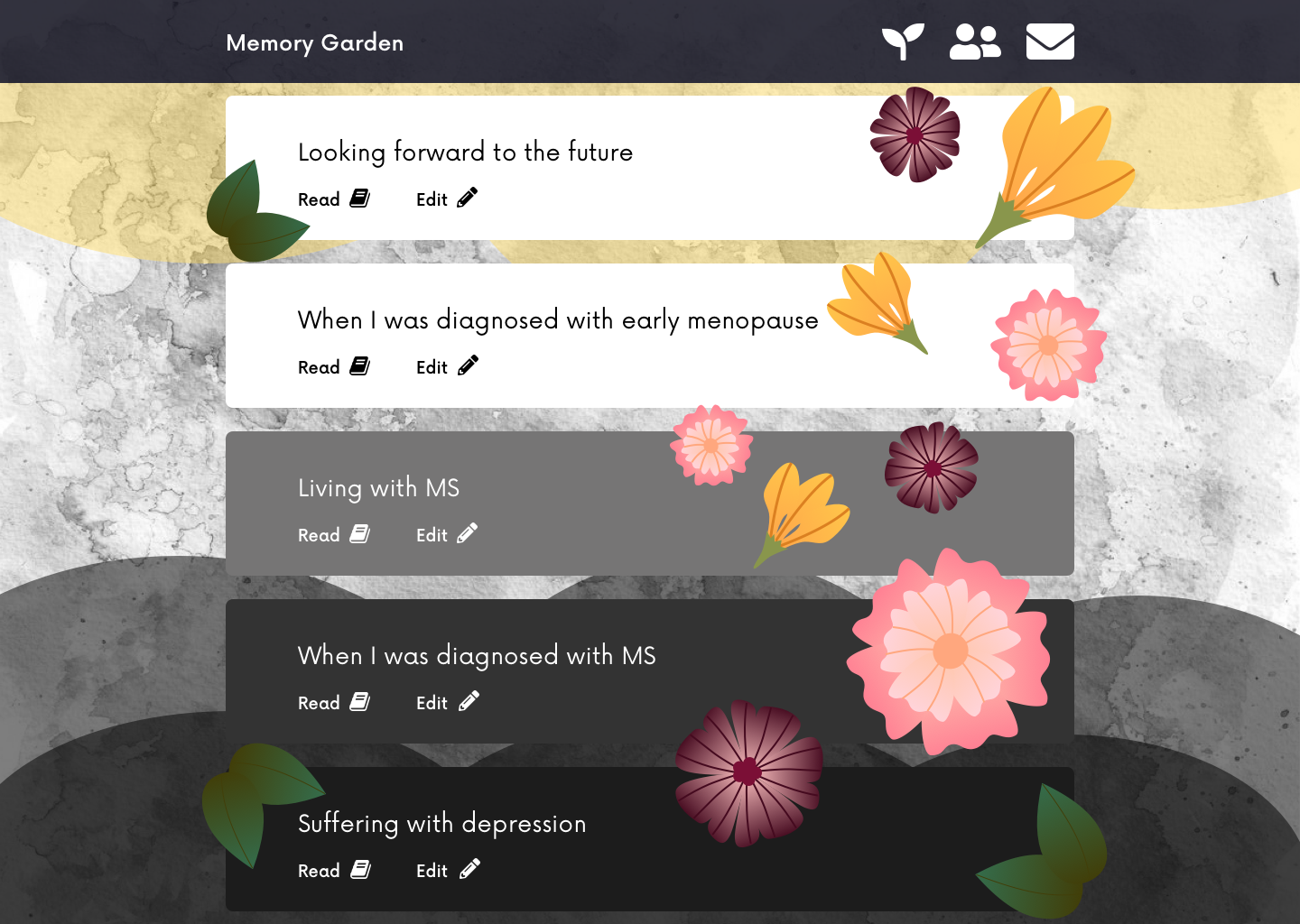 Screenshot of a website landing page which has different panels going horizontally. Each is labelled with a different part of the chronic pain journey.