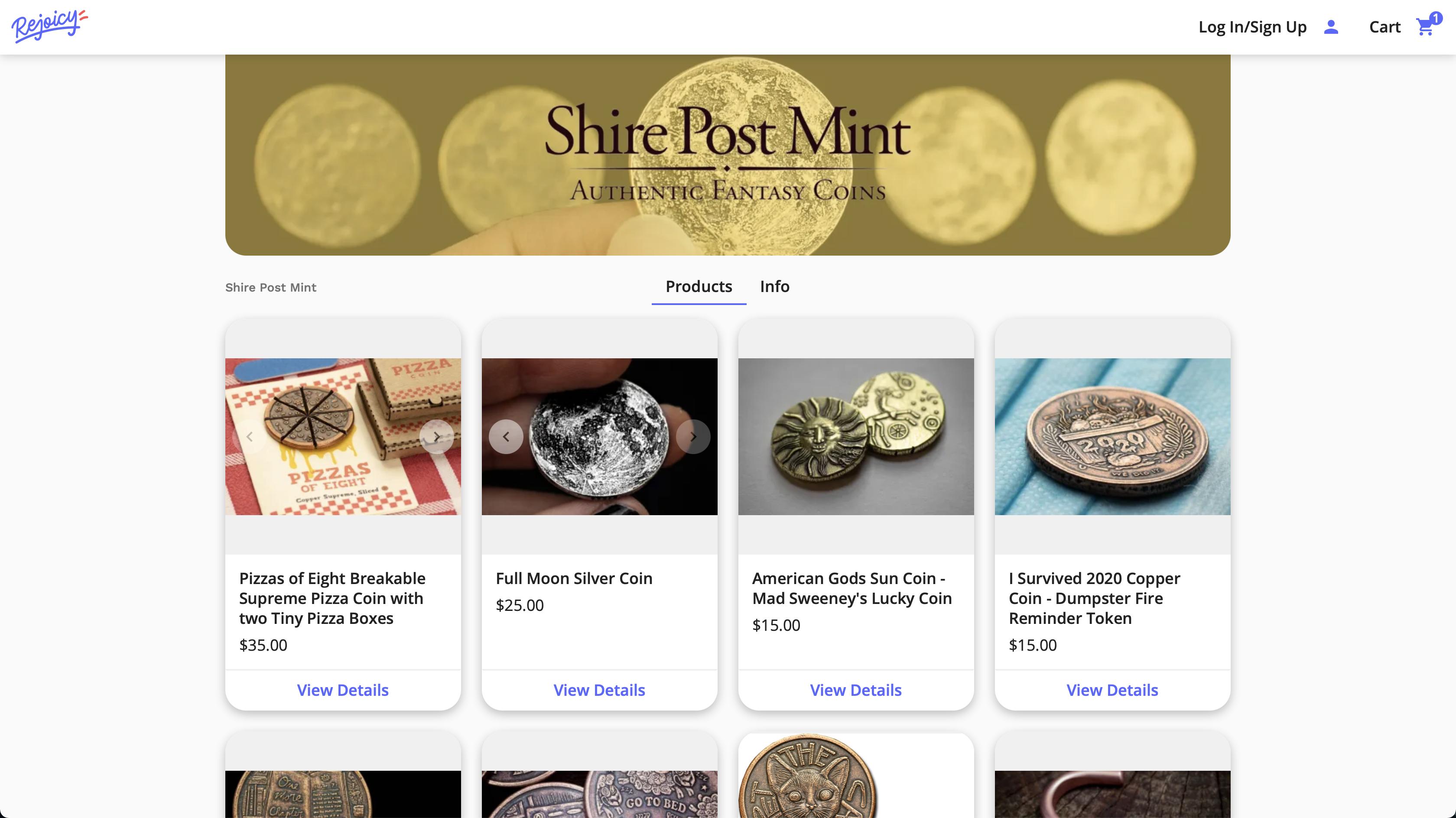 Screenshot of Shire Post Mint shop on Rejoicy