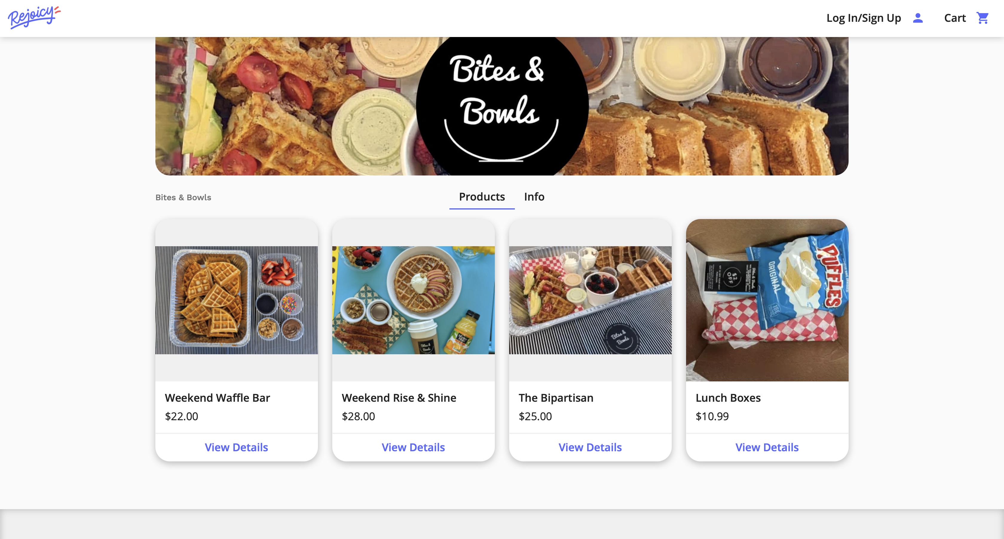 Screenshot of Bites & Bowlsl shop on Rejoicy