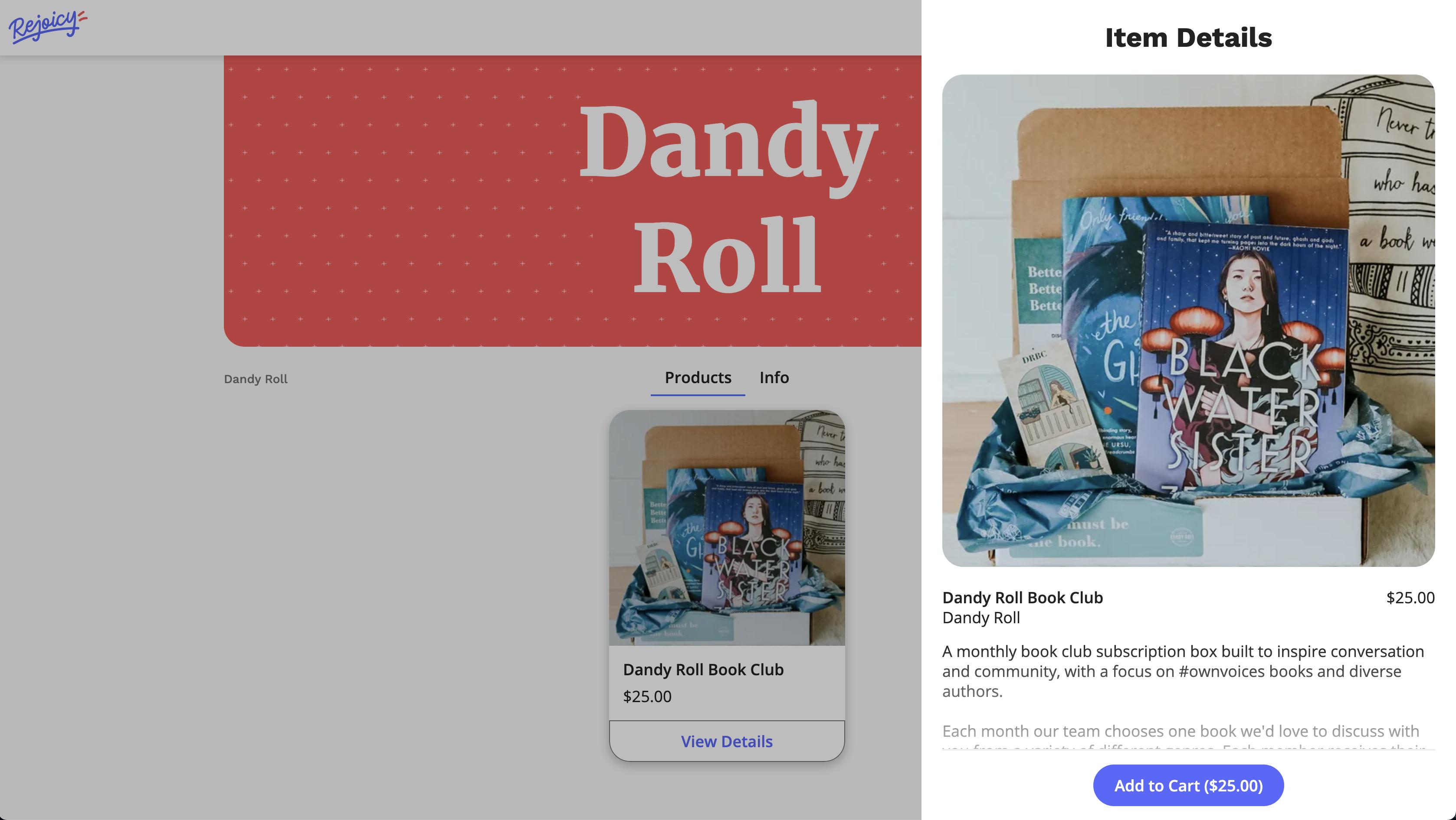 Screenshot of Dandy Roll shop on Rejoicy