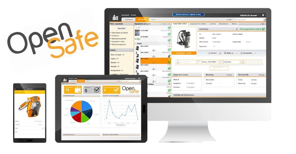 Le logiciel OpenSafe est affiché sur un écran d'ordinateur, sur une tablette et sur un smartphone.