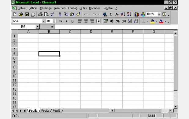 Une feuille de classeur Excel vide.