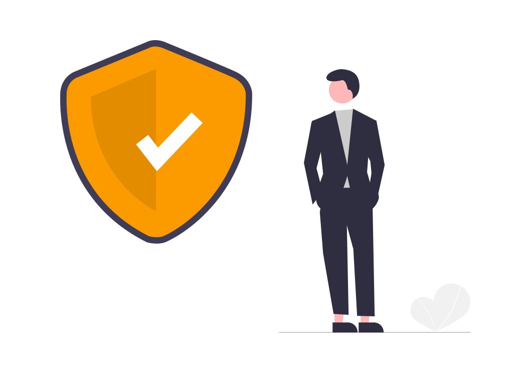 Un homme à côté d'un logo de sécurite