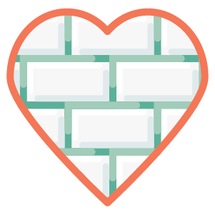 Icon - Heart build from colored brick