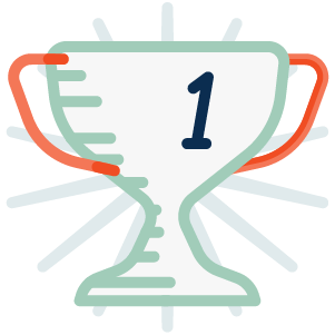 Icon - Trophy displaying the numeral 1