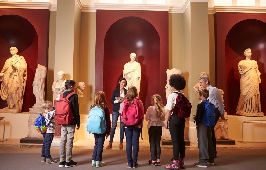 Children in a museum on a guided tour