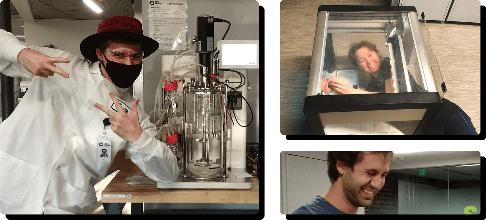 One Radix team member posing next to a bioreactor, another working on and in an Opentrons liquid handler robot