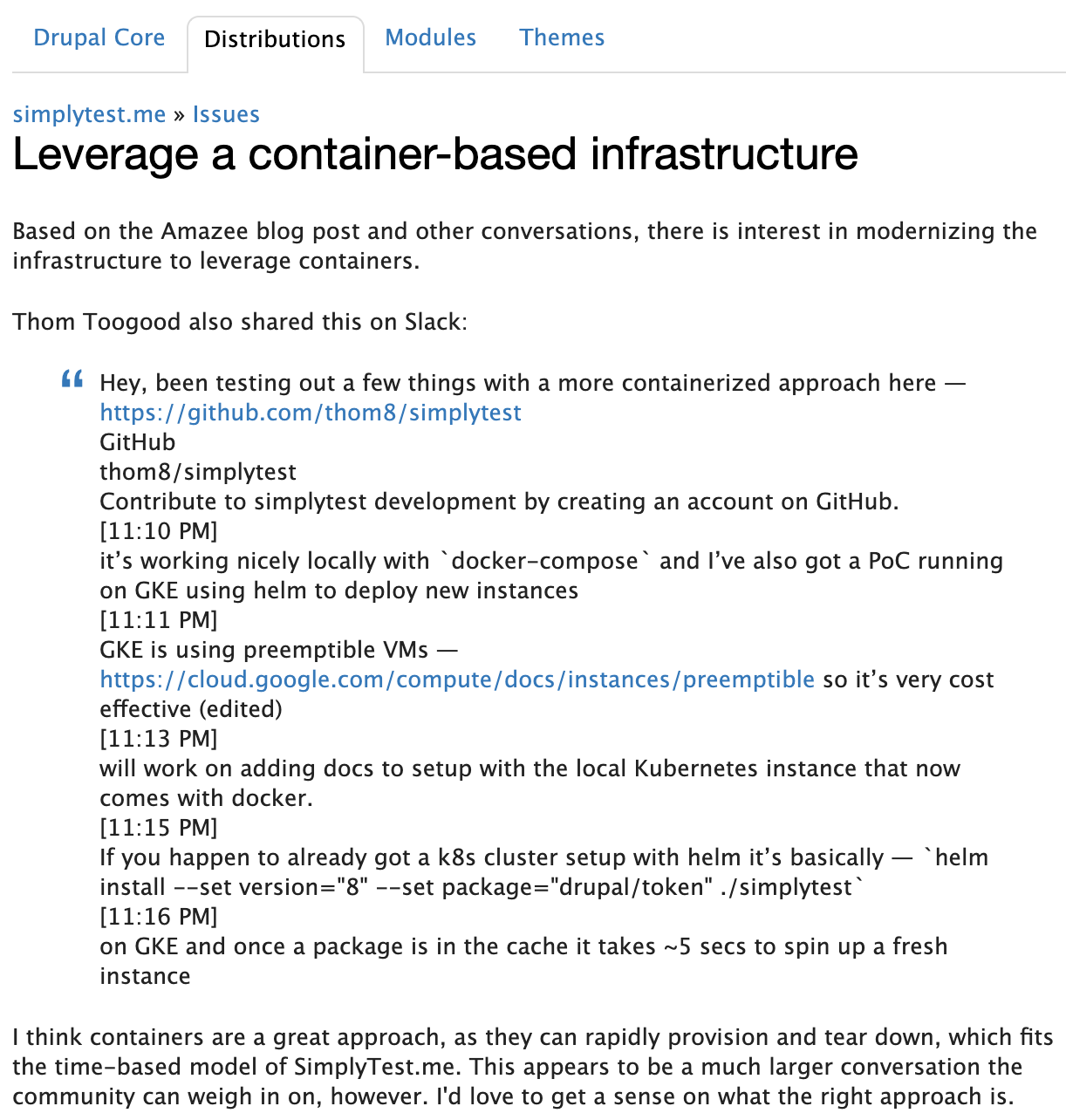 Screenshot of an issue on Drupal.org discussing leveraging a container-based infrastructure for SimplyTest.me's backend