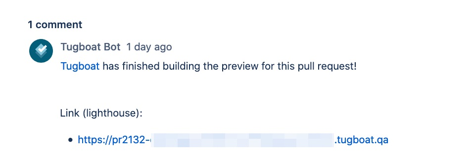 Tugboat comments on a Bitbucket pull request with a link to the Google Lighthouse reports.