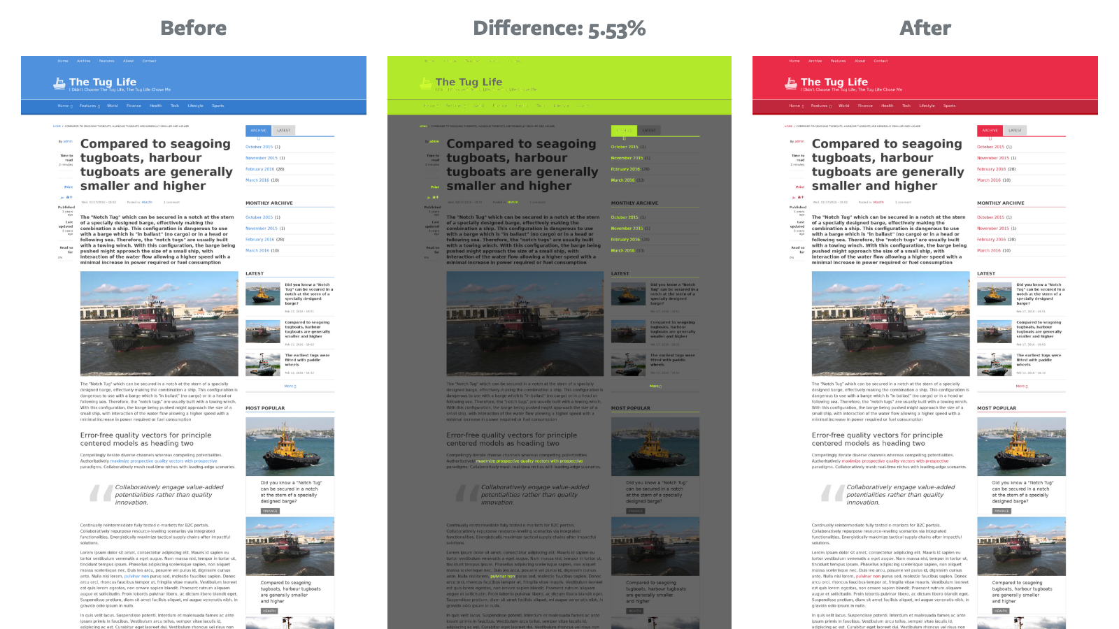 Two home page screenshots, with a visual diff between, highlighting the differences and diff percentage