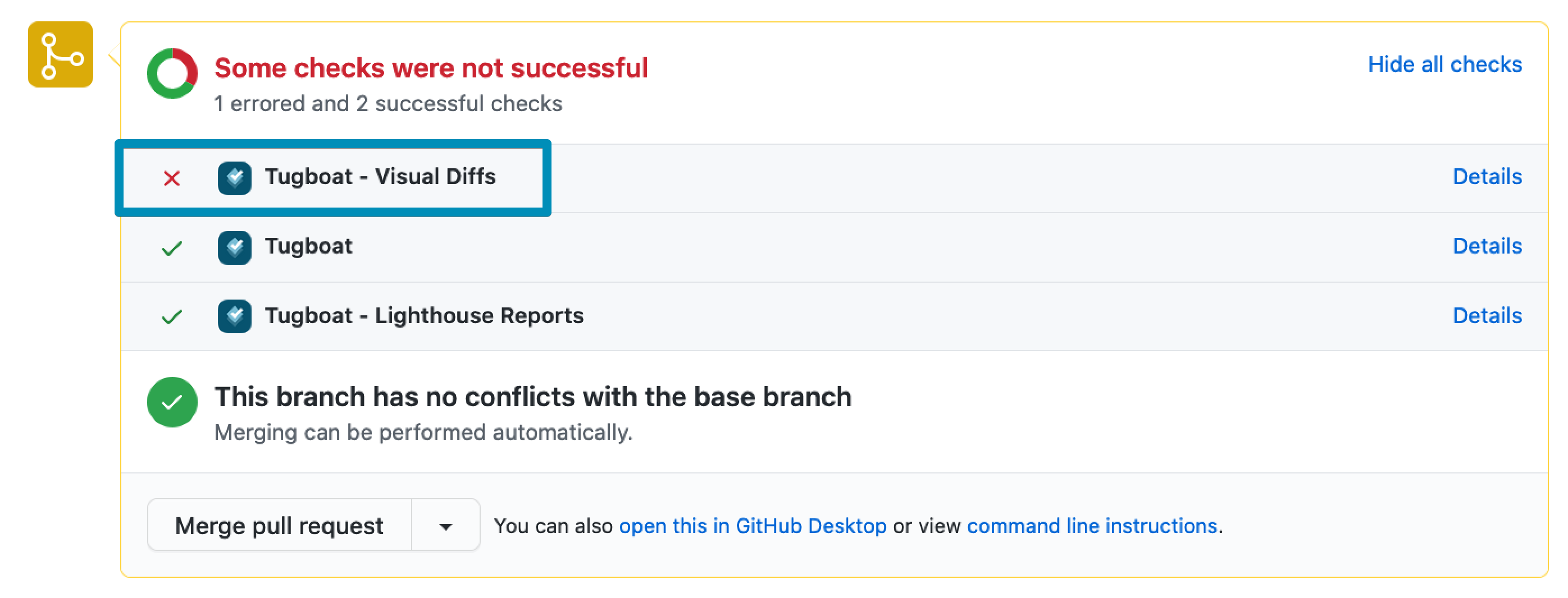 A screenshot of a pull request on GitHub, highlighting a failed visual regression test result from Tugboat.