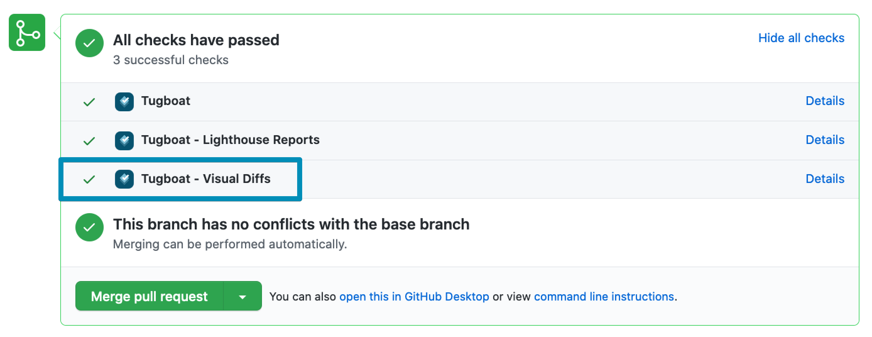 A screenshot of a pull request on GitHub, highlighting a passed visual regression test result from Tugboat.