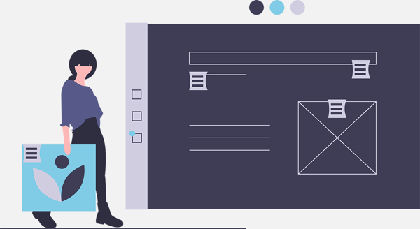 Illustration-style image of user carrying feedback to an abstract design