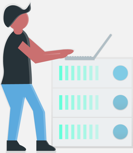 Illustration-style image of user standing at a laptop stacked on top of branches waiting for review