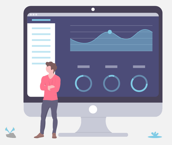 Illustration-style image of user standing in front of a monitor displaying abstract metrics