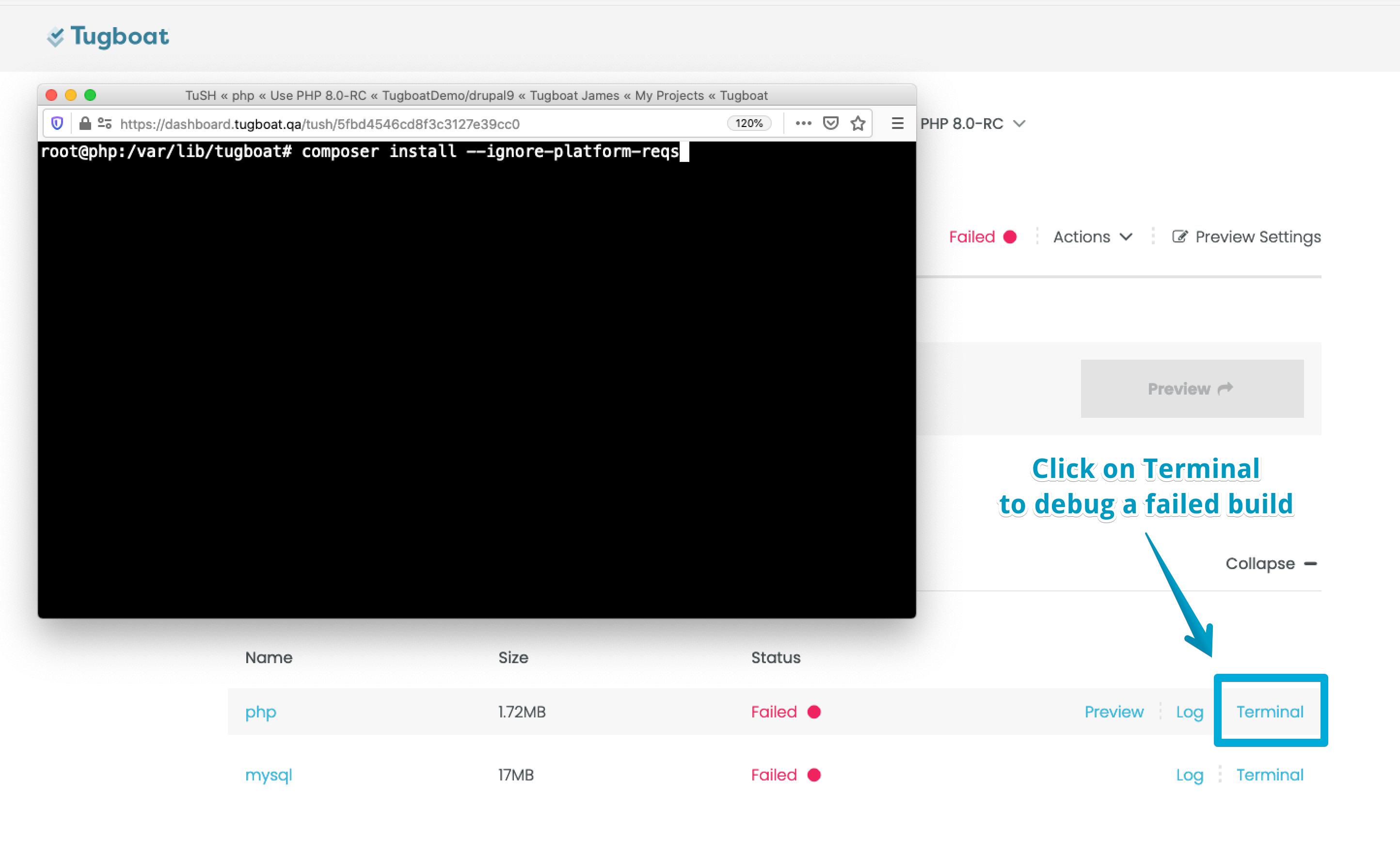 Tugboat Dashboard showing a debugging session.