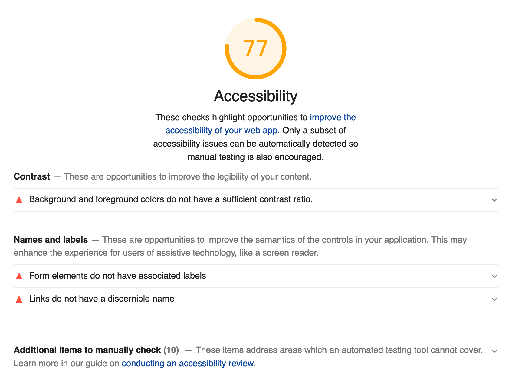 Accessibility report highlighting issues