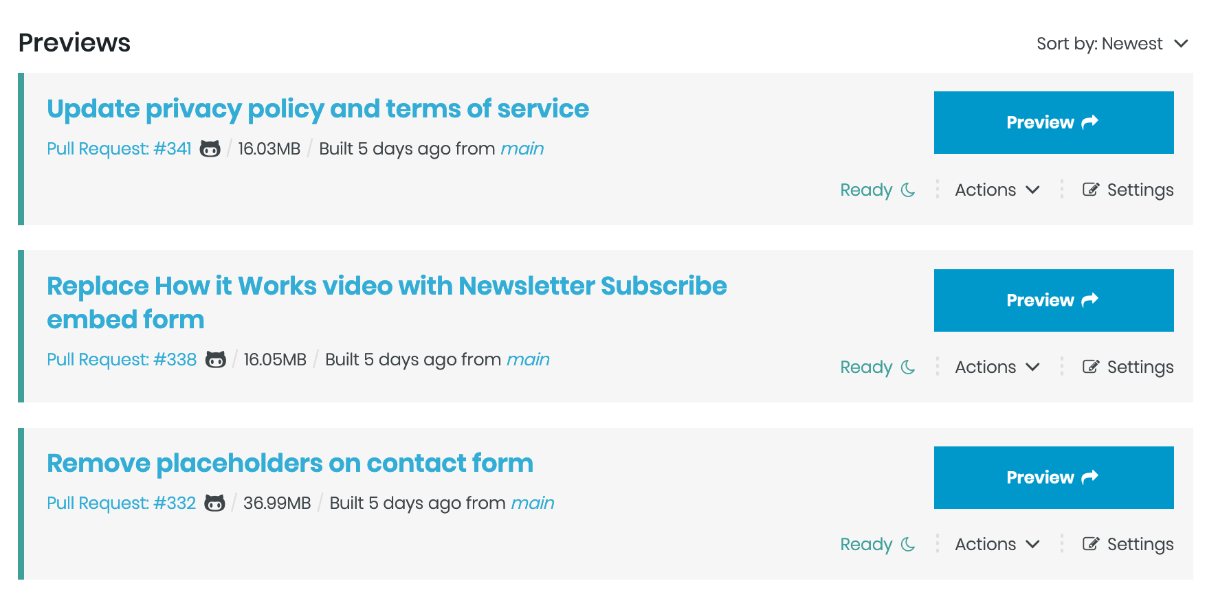 Screenshot of three Tugboat Previews showing three different active projects