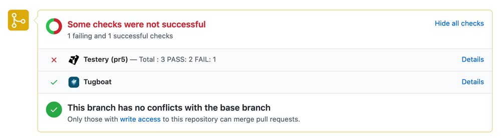 Screenshot of Testery test status and Tugboat deploy environment status on a GitHub pull request