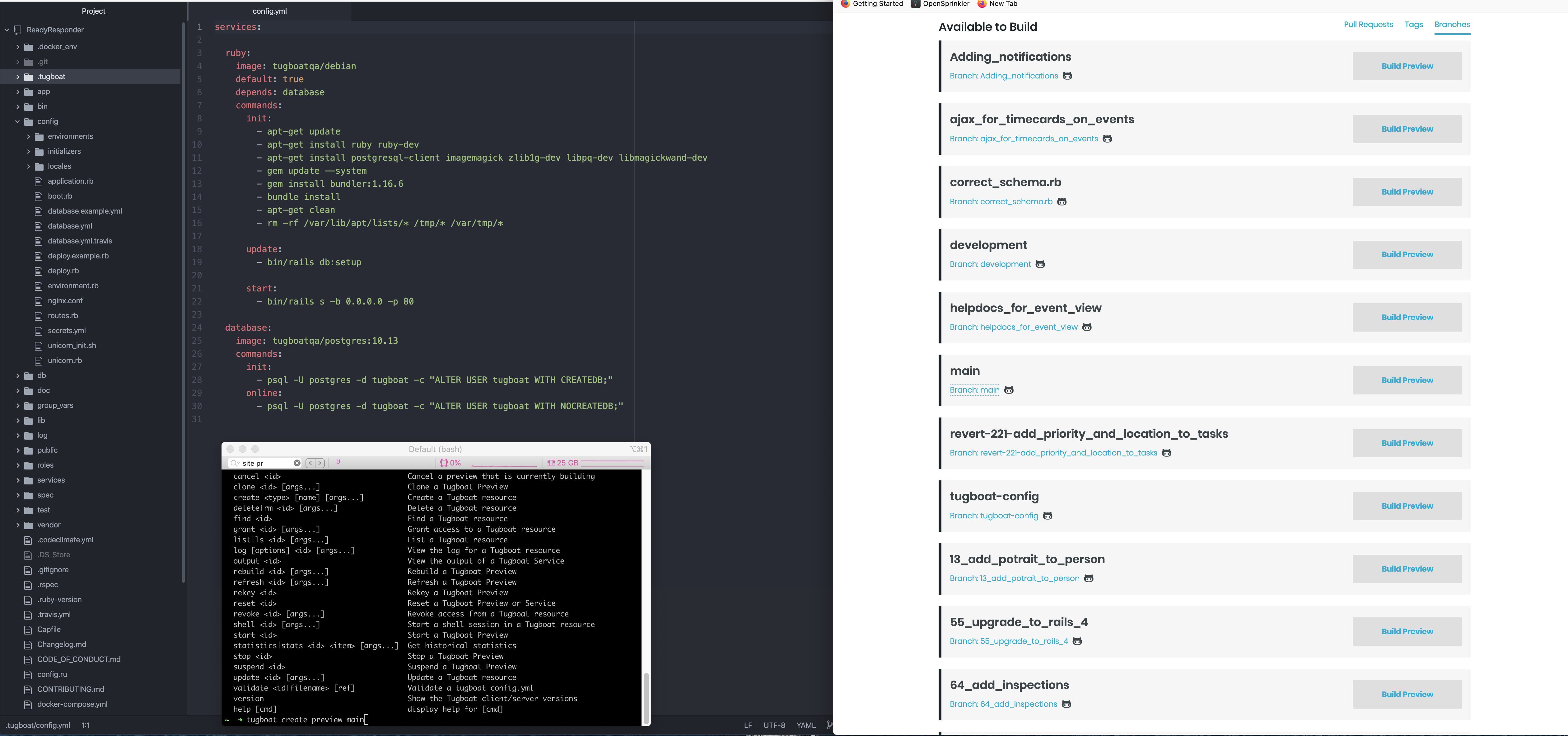 Screenshot showing code in an IDE, a terminal window with Tugboat CLI commands, and a browser window showing a list of Tugboat Previews available to build