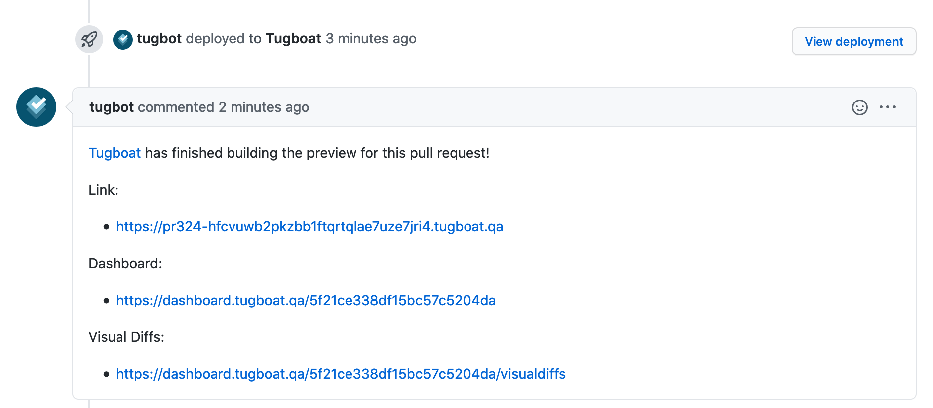 Screenshot of Tugboat deployed to a GitHub ticket, with links to the Preview, Tugboat Dashboard, and Visual Diffs