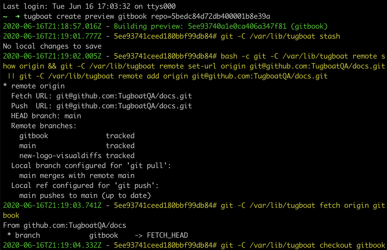 Tugboat command to build a Preview within a terminal window