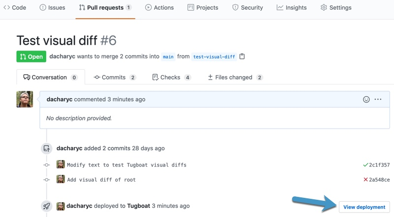 Screenshot of a GitHub Pull Request with an arrow pointing to the View deployment button